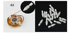 4x VITI IN PLASTICA CON MOLLA per ventole dissipatori schede pc VGA piedini CASE