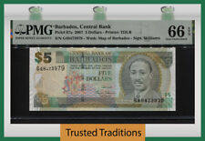 TT PK 67a 2007 BARBADOS CENTRAL BANK 5 DOLLARS PMG 66 EPQ GEM UNCIRCULATED!