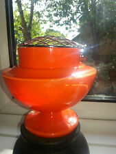 A LARGE BOHEMIAN TANGO GLASS VASE WITH METAL FROG IN VGC