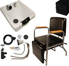 White Ceramic Shampoo Bowl Sink Shampoo Chair Leg Rest Barber Salon Equipment