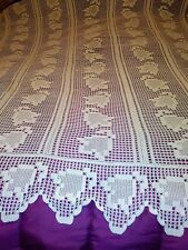 """ANTIQUE HANDMADE FLORAL CROCHET LACE BEDSPREAD AND PILLOW COVER 78"""" BY 74"""