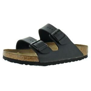 Birkenstock Womens Arizona Black Faux Leather Footbed Sandals Shoes 36 BHFO 9279
