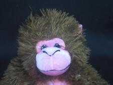 "FUZZY SPIKY HAIR ROUND PINK BABOON HUG ME MONKEY PLUSH STUFFED ANIMAL 21"""