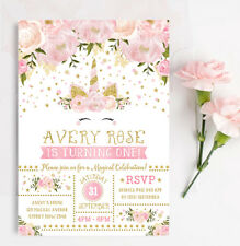 Faux Gold and Pink Unicorn Birthday Invitation Girls Party Invite Feminine Girly