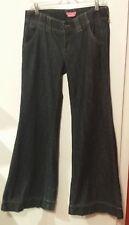 BCBGirls Cotton Dark Blue Denim Wide Legged Flare Low Rise Boho Jeans Women's 28