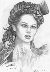 original drawing А4 22DuO art samovar Graphite sketch female portrait Signed