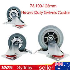 """4,""""5,""""6"""",Heavy Duty Swivel Castor Wheels Trolley BenchFurniture Caster AllBrake"""