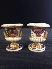"""Pair Antique Derby English Porcelain 3.5"""" Hand Painted Imari Pot  Pourri Urns"""