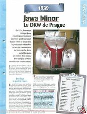 Jawa Minor / DKW Audi 2 Cyl. 1939 Czech Republic Car Auto Retro FICHE FRANCE