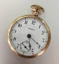 Deer/Moose Engraved Working Open Face Antique Admiral Gold Pocket Watch 7j