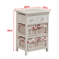 Wood Wicker Bedside Cabinet Storage Unit Chest Of Drawer with Baskets Furniture