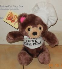 vintage Russ Berrie #768 I love Your Buns Teddy Bear Plush Chef Valentines