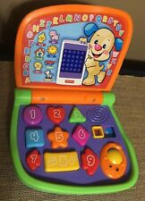 Fisher Price Learn Laptop Computer ABCs 123s Shapes Colors Spanish w/ Handle