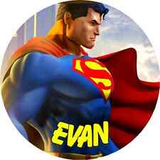 24 PERSONALIZED SUPERMAN Property ROUND Stickers school books NAME TAGS LABELS