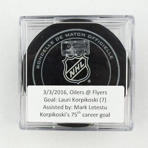 2015-16 Lauri Korpikoski Edmonton Oilers Game-Used Goal-Scored Puck -75th Goal