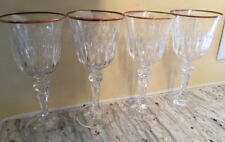 Lot of '4'  Bohemia Crystal Wine Glass BOC28 Gold Trim 7""