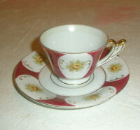 Vintage Demitasse Cup and Saucer Occupied Japan Red Floral Gold Trim