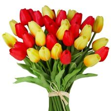 24 Pcs Artificial Tulip Flowers Faux Tulip Stems Real Press PU Tulips for U5C1