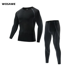 Mens Compression Sets Long Sleeve Tops Base Layer Tights High Elastic Gym Sports