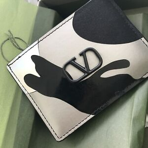 NIB Authentic Valentino Vlogo Leather Card Case Holder Wallet - Silver/Black