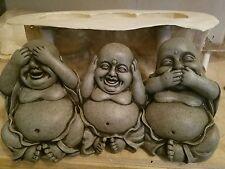 concrete plaster mold   latex and fiberglass see no evil Buddha set new mold