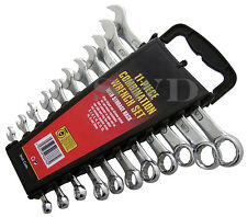 11pc Metric Combination Spanner Ring Wrench Set Sizes: 6mm - 14mm & 17mm & 19mm