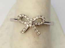 Pave Diamonds Infinity Bow Love Knot Fashion Right Hand Ring 14k White Gold
