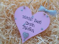 Personalised Worlds Best Cousin Heart Plaque Gift