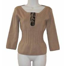 CACHE Top M Beige LEATHER TRIM 3/4 Slvs FITTED WAIST Silk Spandex STRETCHY KNIT