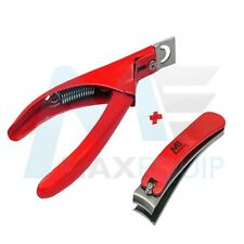 Acrilico Tip Cutter Gel UV False Finte Tagliaunghie Nipper Rossa Manicure 2 PZ Set