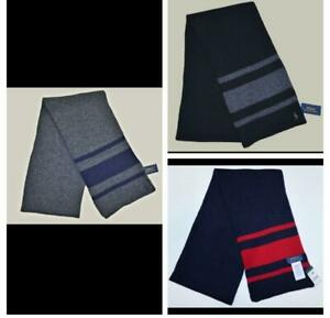 New Polo Ralph Lauren Mens Wool Scarf Cashmere Blend Rugby black gray blue NWT