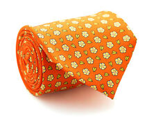 New Davidoff 100% Silk Neck Tie in Orange Color with Mini Flowers MSRP $160.00