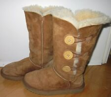 UGG UGGS Wms Lt Brown Tall Bailey Triple Button Winter Boots US 5 / 5.5 Eur 36