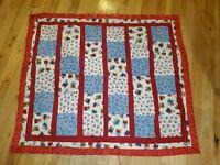 "Handmade Circus Animal Red Fleece Baby Blanket 43"" x 50"" Quilt Style Unisex"