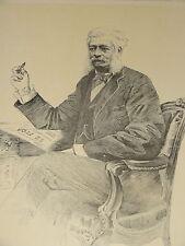 Gravure Portrait ALPHONSE de ROTHSCHILD BANQUE FINANCE FERRIERES JUDAICA 1895