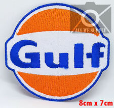 Gulf Oil Gasoline Vintage Biker F1 Racing Iron/ Sew-on Embroidered Patch