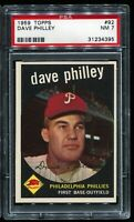 1959 Topps Baseball #92 DAVE PHILLEY Philadelphia Phillies PSA 7 NM