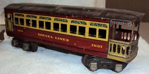Lionel O Gauge 1690 & 1691 Pullman & Observation Cars Corrosion Free Tin Litho