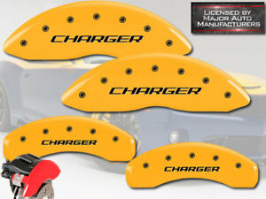 """2016 Dodge """"Charger"""" Scat 392 Front + Rear Yellow MGP Brake Disc Caliper Covers"""