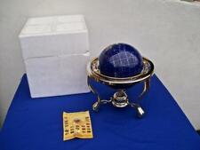 "BLUE LAPIS GEMSTONE WORLD GLOBE GOLD TRIPOD BASE WITH COMPASS 15"""