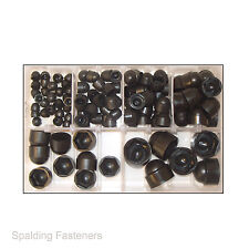 Assorted M5, M6, M8, M10, M12 & M16 Metric Black Nylon Nut & Bolt Hex Cap Covers