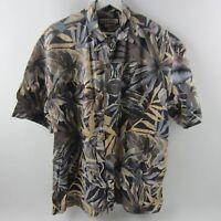 Paradise Blue Men's Shirt Floral Button Front S/S 100% Cotton Multi-color Size L