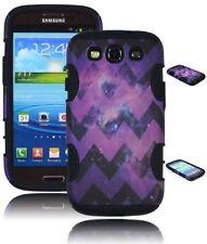 For Samsung Galaxy S3 Purple Hybrid Chevron with Stars Case + Black Silicone