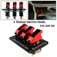 DC12V-24V Red LED 3-Way Toggle Switch Panel for Racing Car Engine Start Ignition