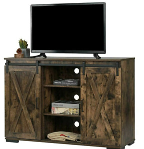 Farmhouse Barn Door TV Stand Wood Media Console Storage Cabinet Living Room New