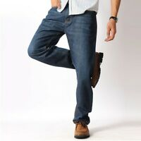 Elastic Trousers Men Over Size Jeans Straight Leg Loose Casual High Waist Pants