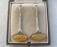 Elegante miel ámbar de inspiración Nouveau genuino y plata pendientes
