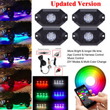 4X Pod RGB LED Rock Light Waterproof Off-Road Under Wheel Lights Updated Version