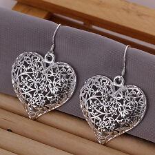 925 Stamped Sterling Silver Filled SF Filigree Heart Dangle Earrings E-A485