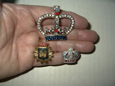 3 Vintage Silver & Gold Tone Clear-Red-Blue Crystal & Pearl Crown Brooch Pins